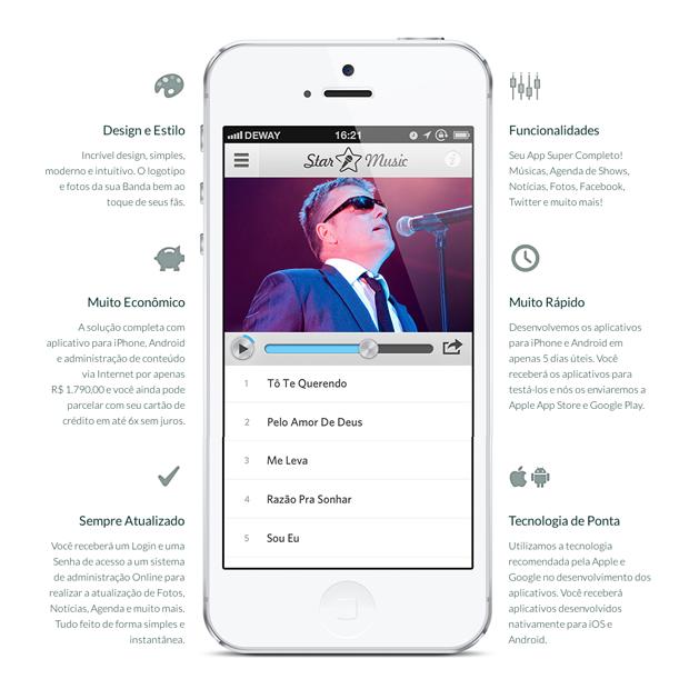 destaque aplicativo star music app para cantores e bandas de musica detalhes do site